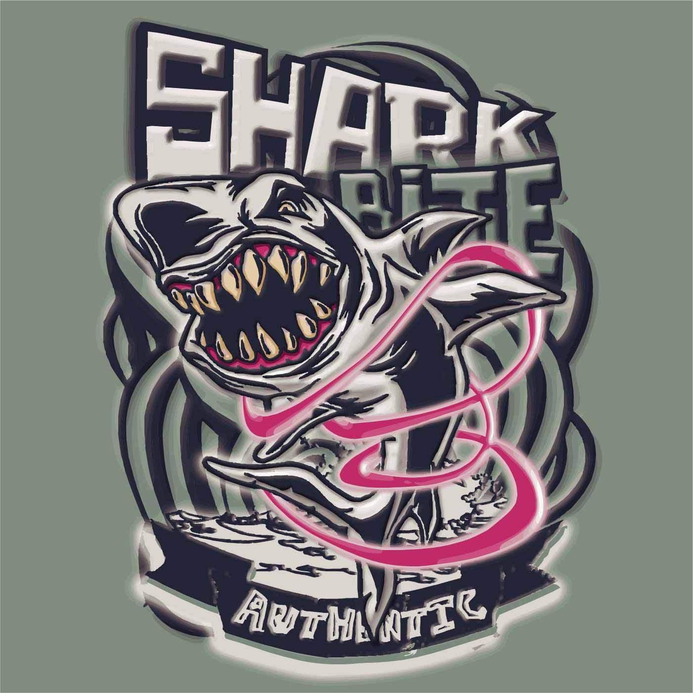 鲨鱼字母印花矢量图服装裁片T恤烫图印花花型素材-POP花型网