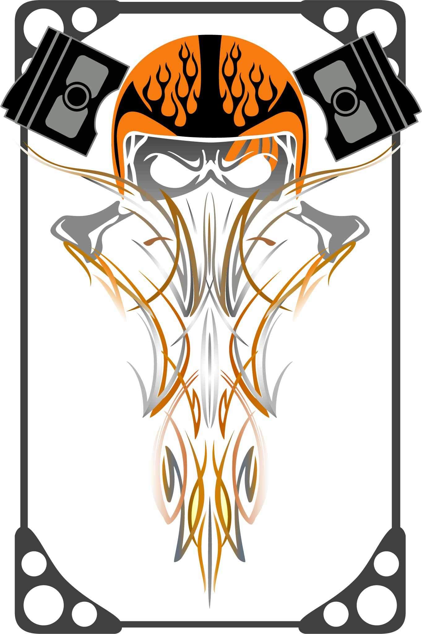 几何图案线条骷髅头印花矢量图服装裁片T恤烫图印花花型素材-POP花型网