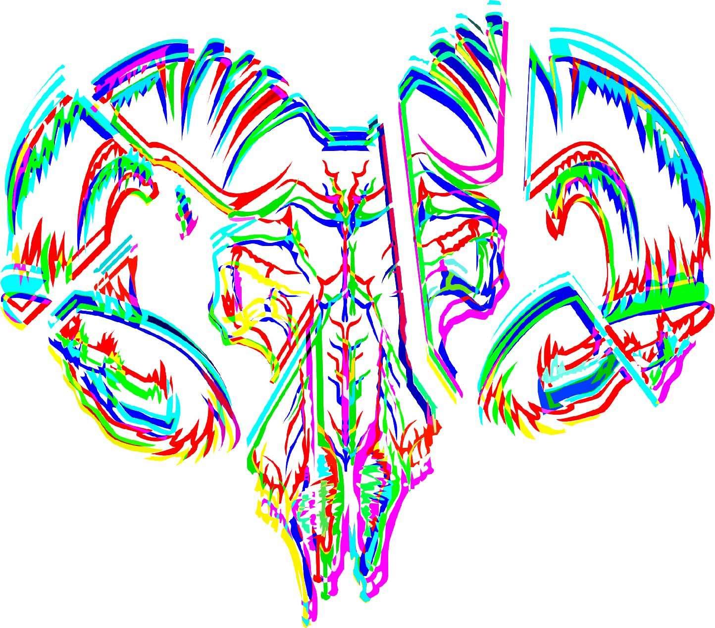 多彩几何线条拼接公羊印花矢量图服装裁片T恤烫图印花花型素材-POP花型网