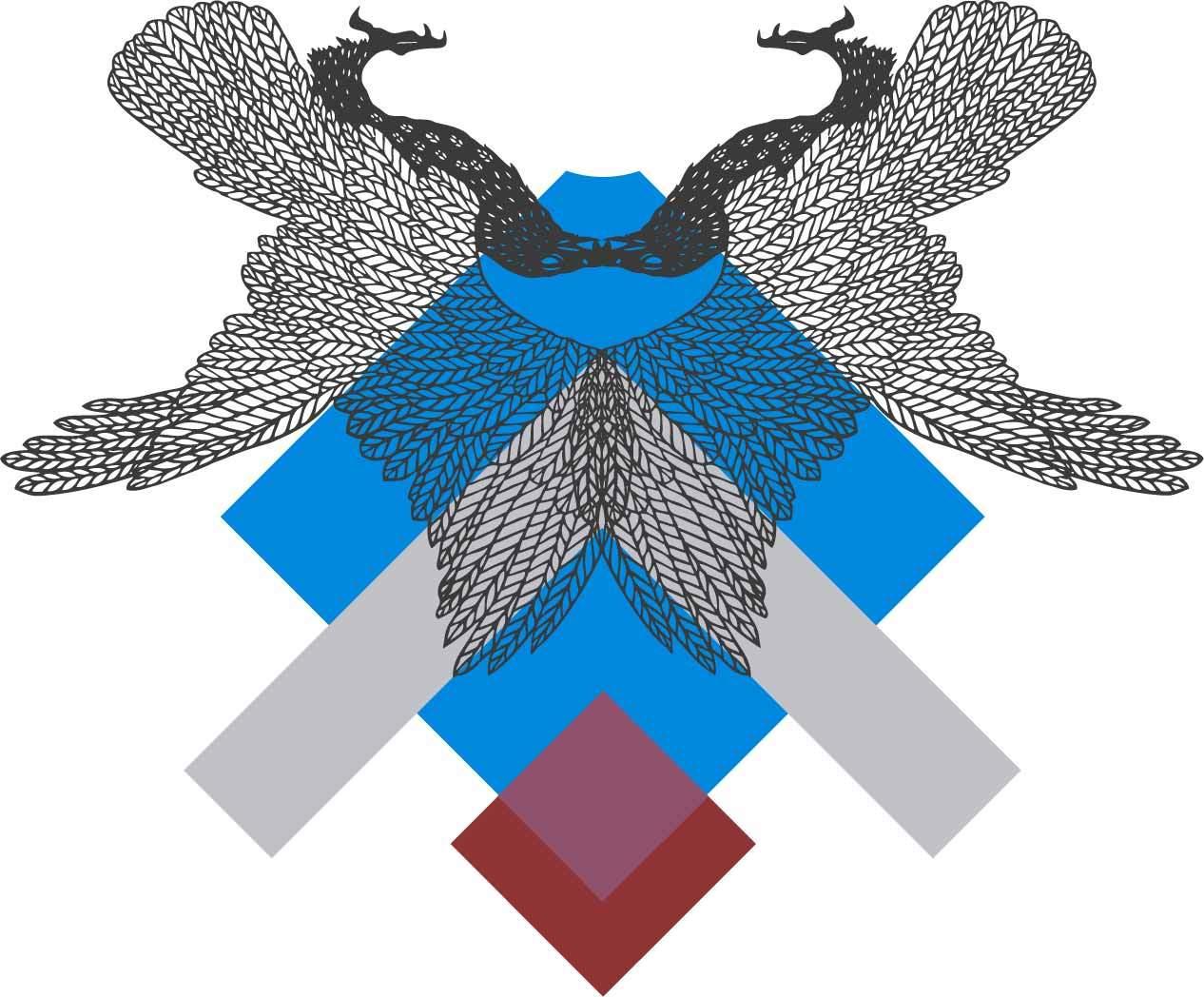 几何线条花纹老鹰印花矢量图服装裁片T恤烫图印花花型素材-POP花型网
