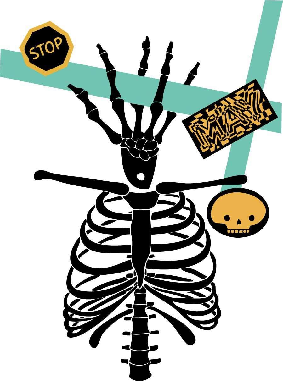 几何线条骷髅字母印花矢量图服装裁片T恤烫图印花花型素材-POP花型网