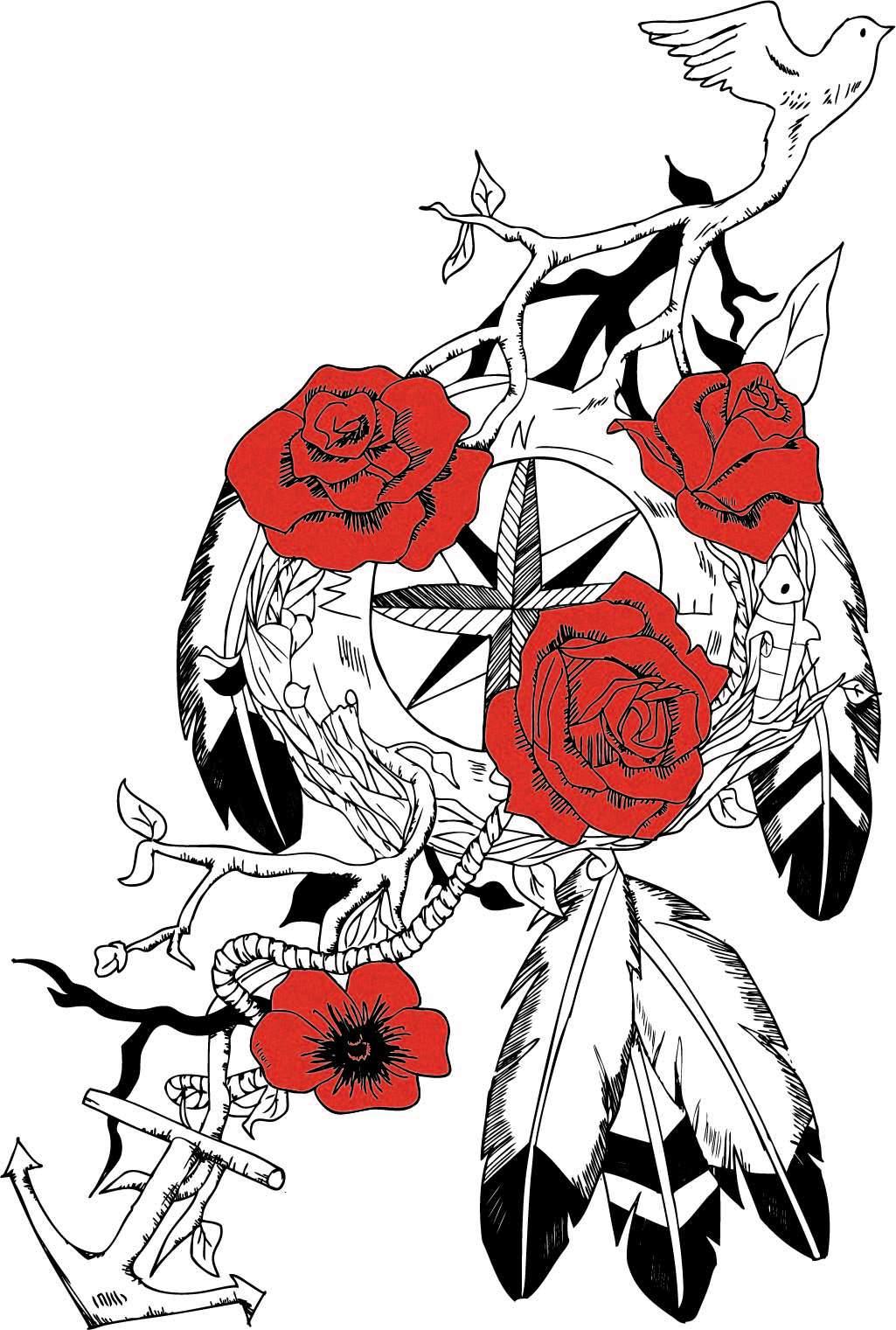 植物花纹牡丹花羽毛印花矢量图服装裁片T恤烫图印花花型素材-POP花型网