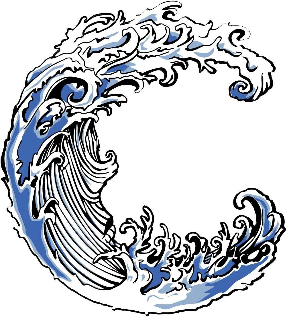 海浪印花矢量图服装裁片T恤烫图印花花型素材-POP花型网