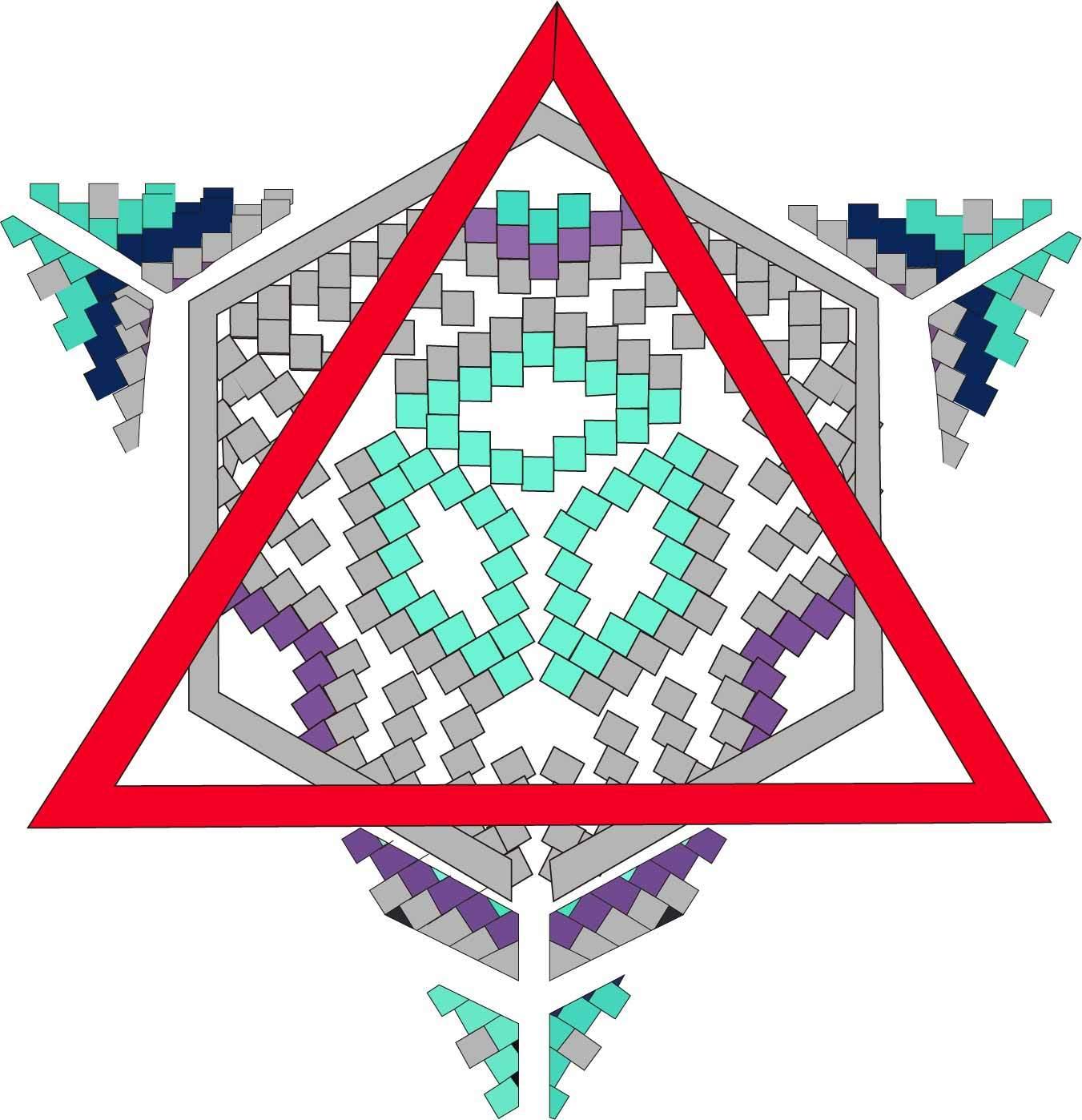 几何图案拼接印花矢量图服装裁片T恤烫图印花花型素材-POP花型网