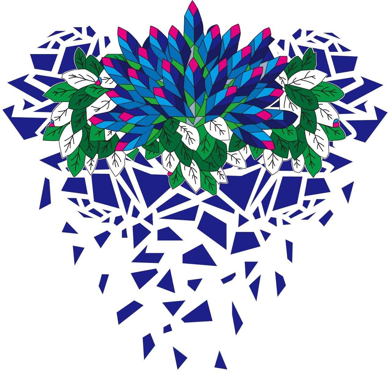 几何图案拼接植物叶子印花矢量图服装裁片T恤烫图印花花型素材-POP花型网