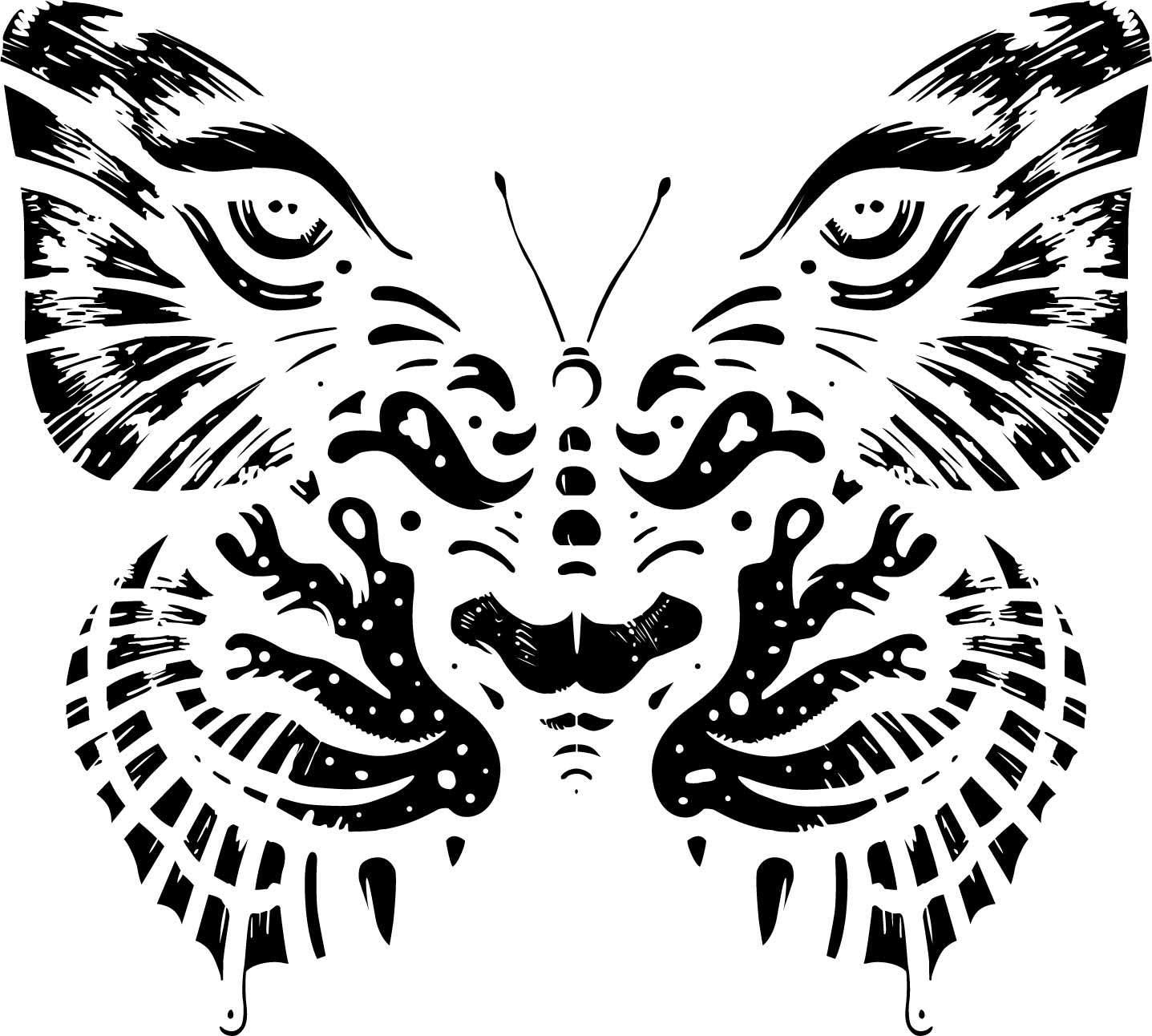 几何花纹蝴蝶印花矢量图服装裁片T恤烫图印花花型素材-POP花型网