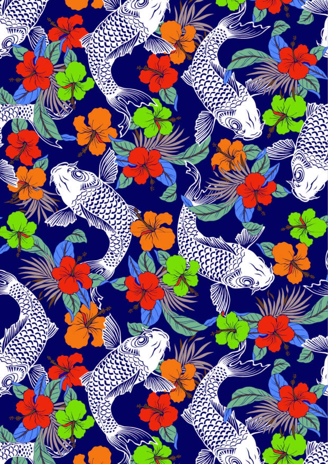 植物花卉鲤鱼印花矢量图服装纺织面料数码印花花型素材-POP花型网