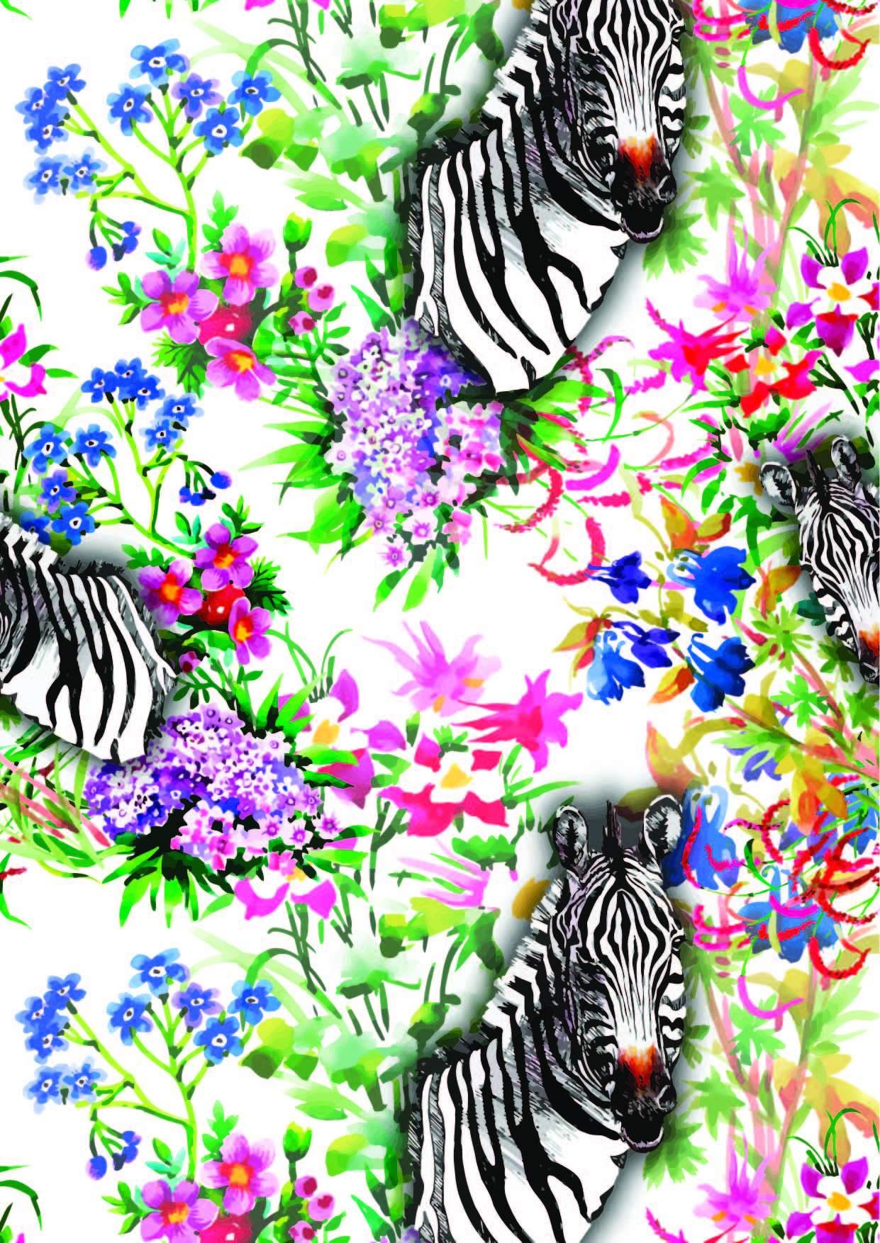 植物花卉动物斑马图案印花矢量图服装纺织面料数码印花花型素材-POP花型网