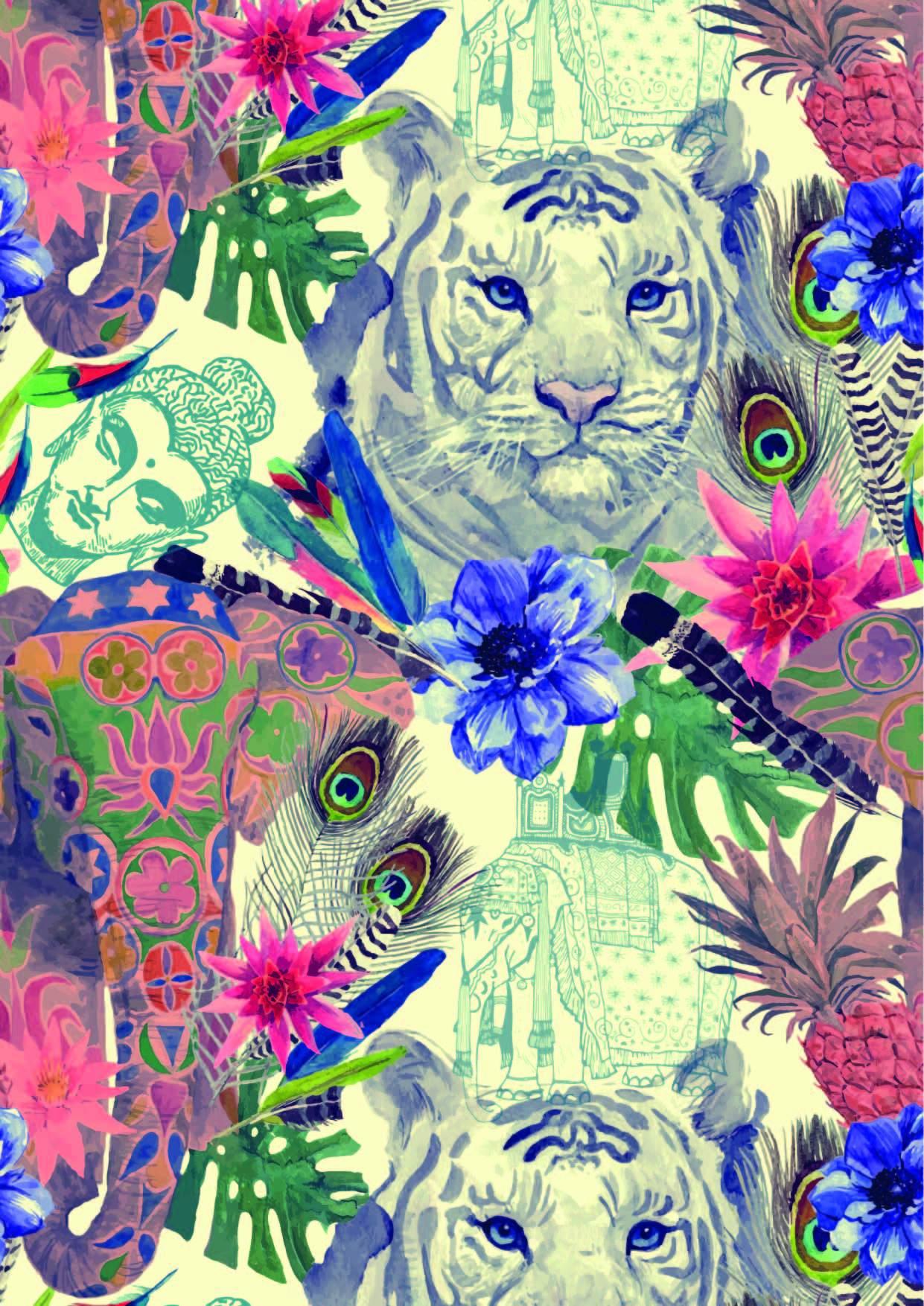 植物花纹动物老虎大象印花矢量图服装纺织面料数码印花花型素材-POP花型网