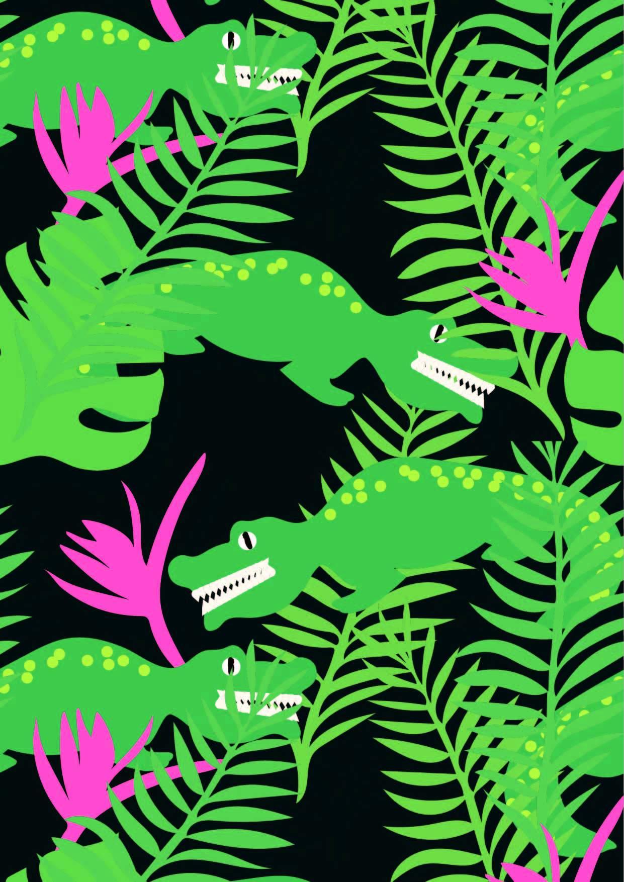 卡通植物花纹鳄鱼印花矢量图服装纺织面料数码印花花型素材-POP花型网