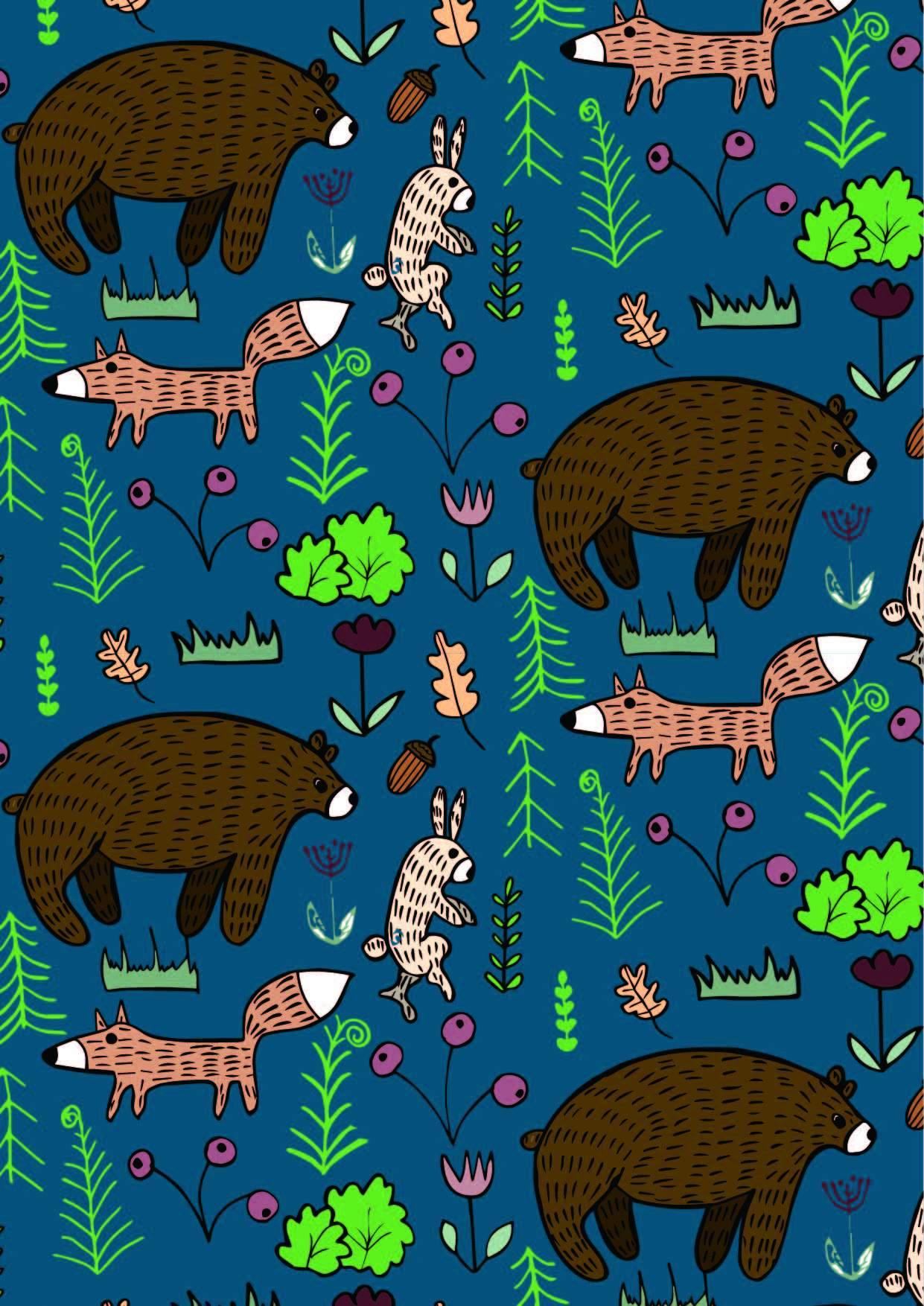 卡通动物植物印花矢量图服装纺织面料数码印花花型素材-POP花型网