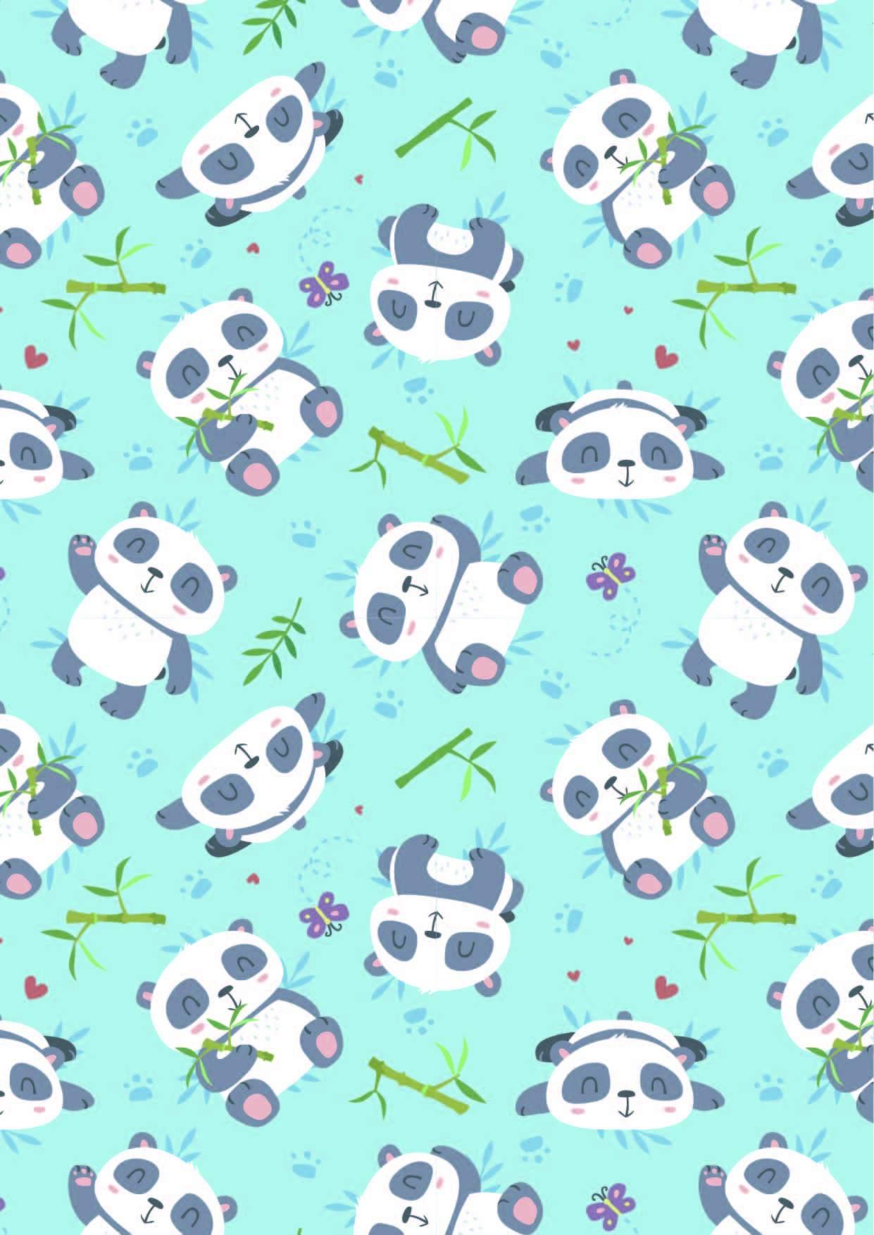 卡通动物大熊猫竹子印花矢量图服装纺织面料数码印花花型素材-POP花型网