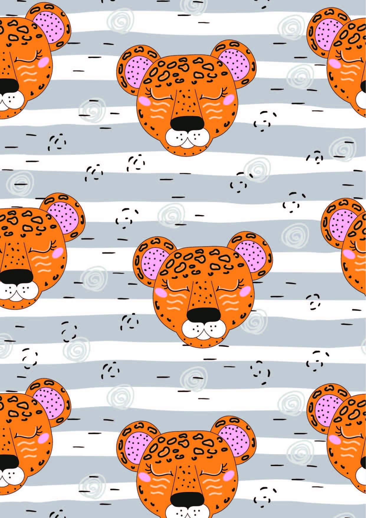 几何条纹豹子印花矢量图服装纺织面料数码印花花型素材-POP花型网