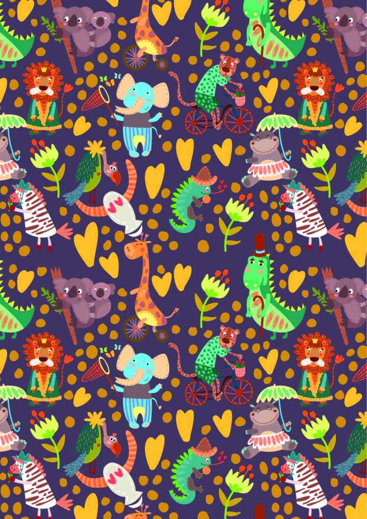 几何圆点图案卡通动物印花矢量图服装纺织面料数码印花花型素材-POP花型网
