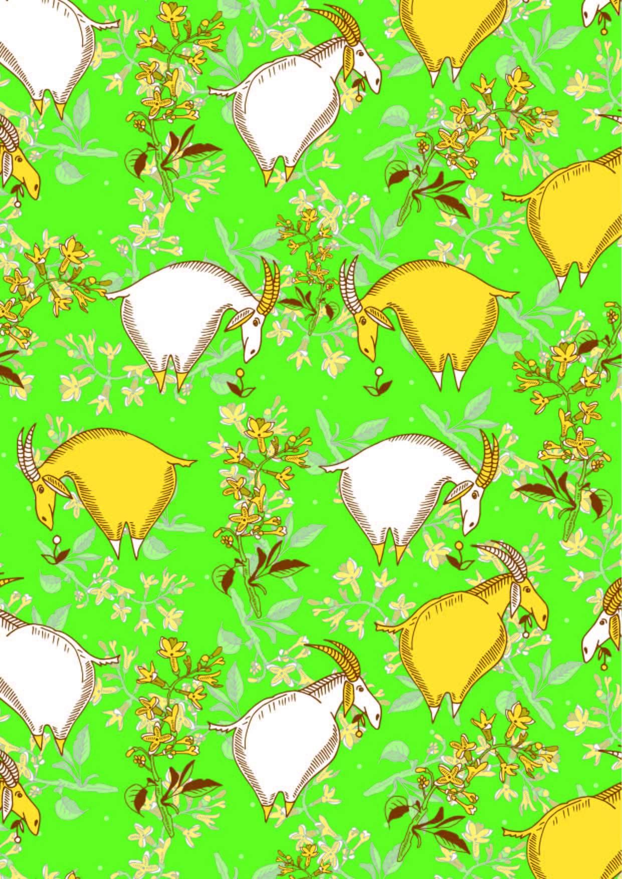 植物花卉动物羚羊印花矢量图服装纺织面料数码印花花型素材-POP花型网