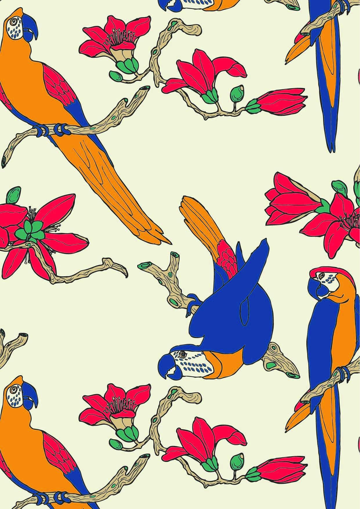 植物花卉动物鹦鹉印花矢量图服装纺织面料数码印花花型素材-POP花型网
