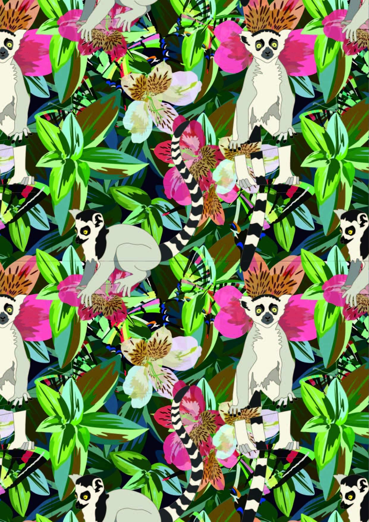 植物花朵动物猴子印花矢量图服装纺织面料数码印花花型素材-POP花型网