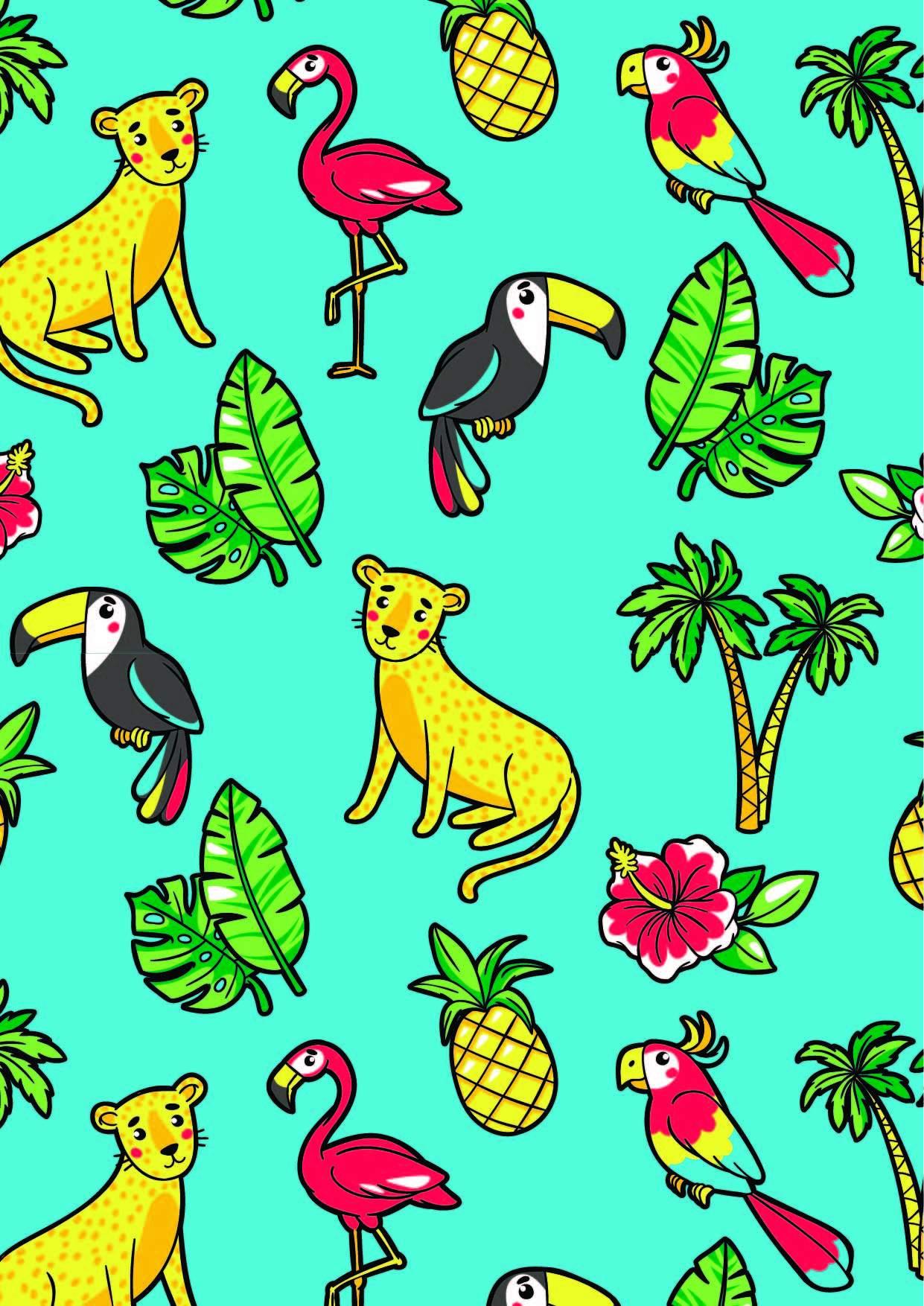 卡通动物花纹豹子火烈鸟鹦鹉大嘴鸟印花矢量图服装纺织面料数码印花花型素材-POP花型网