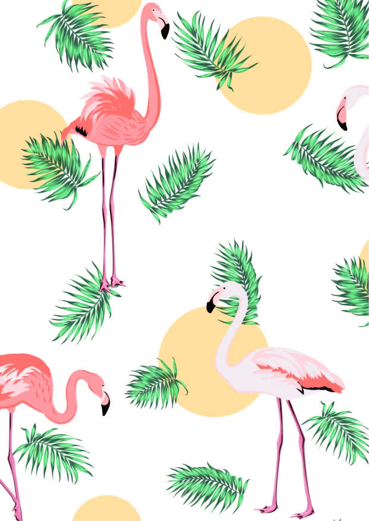 圆点植物花纹火烈鸟印花矢量图服装纺织面料数码印花花型素材-POP花型网