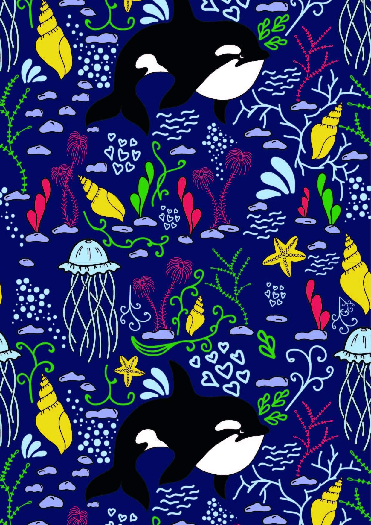 卡通海洋风鲸鱼海螺印花矢量图服装纺织面料数码印花花型素材-POP花型网