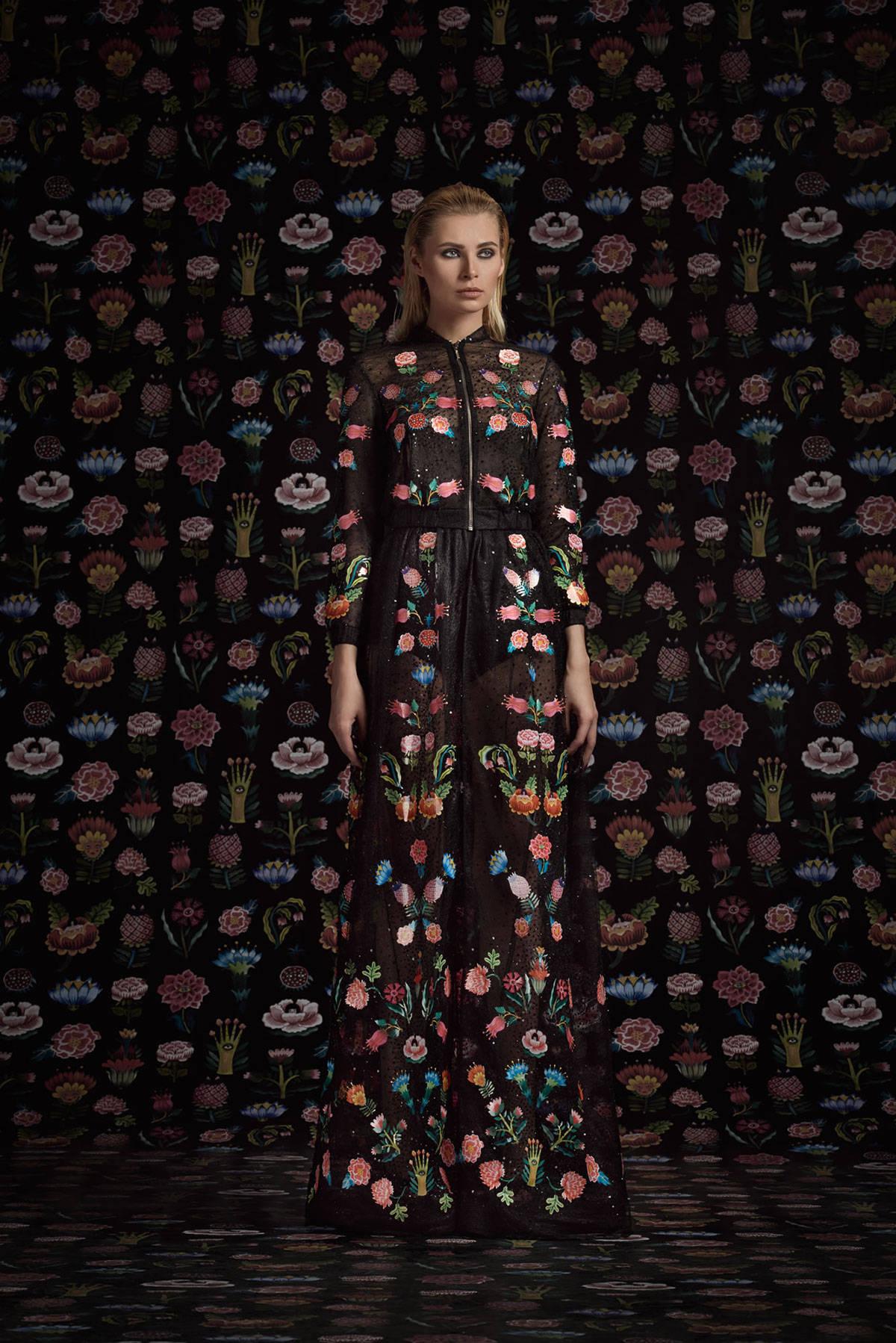 女装长裙绣花设计灵感欣赏-POP花型网