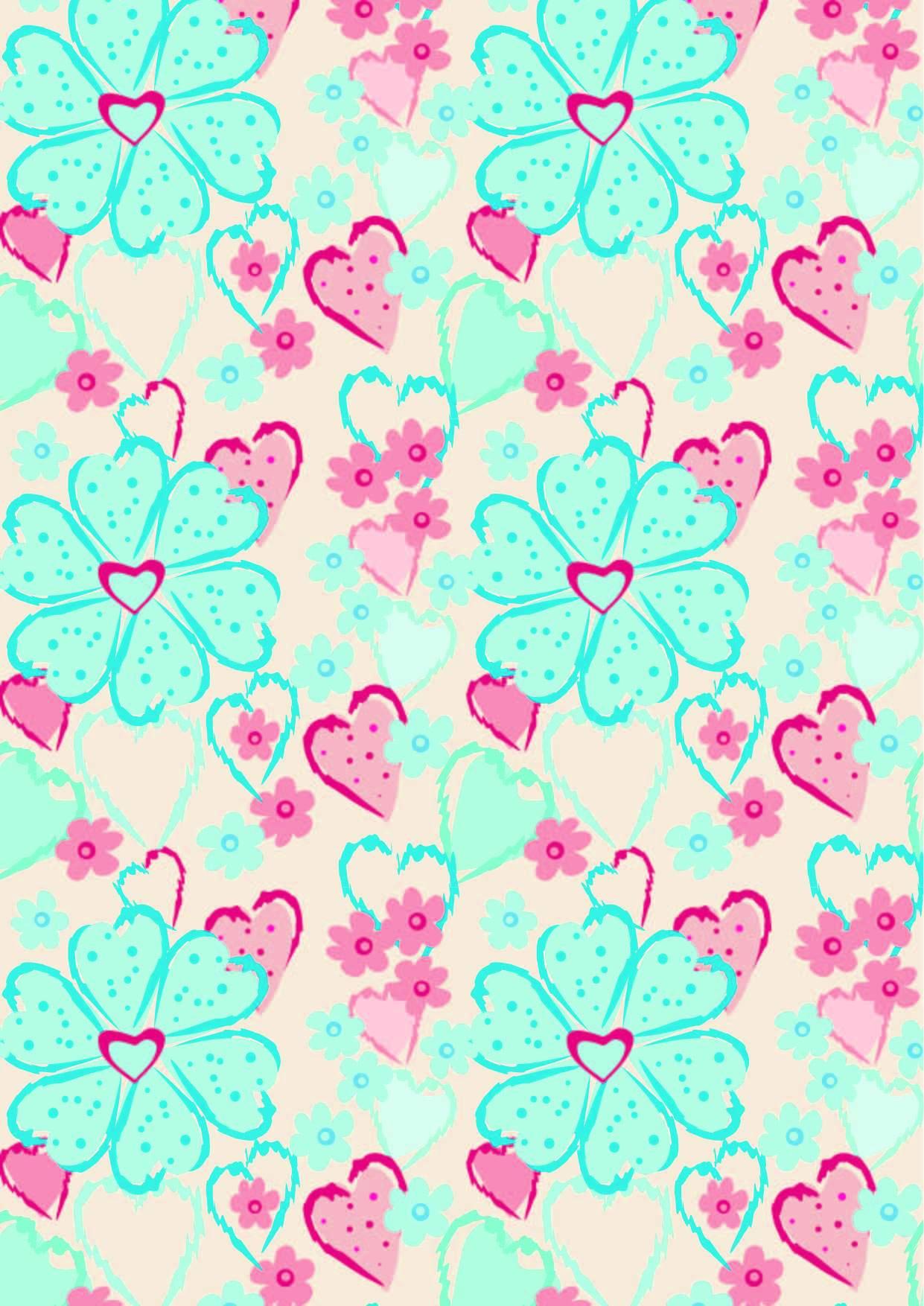 植物花朵爱心印花矢量图服装纺织面料数码印花花型素材-POP花型网