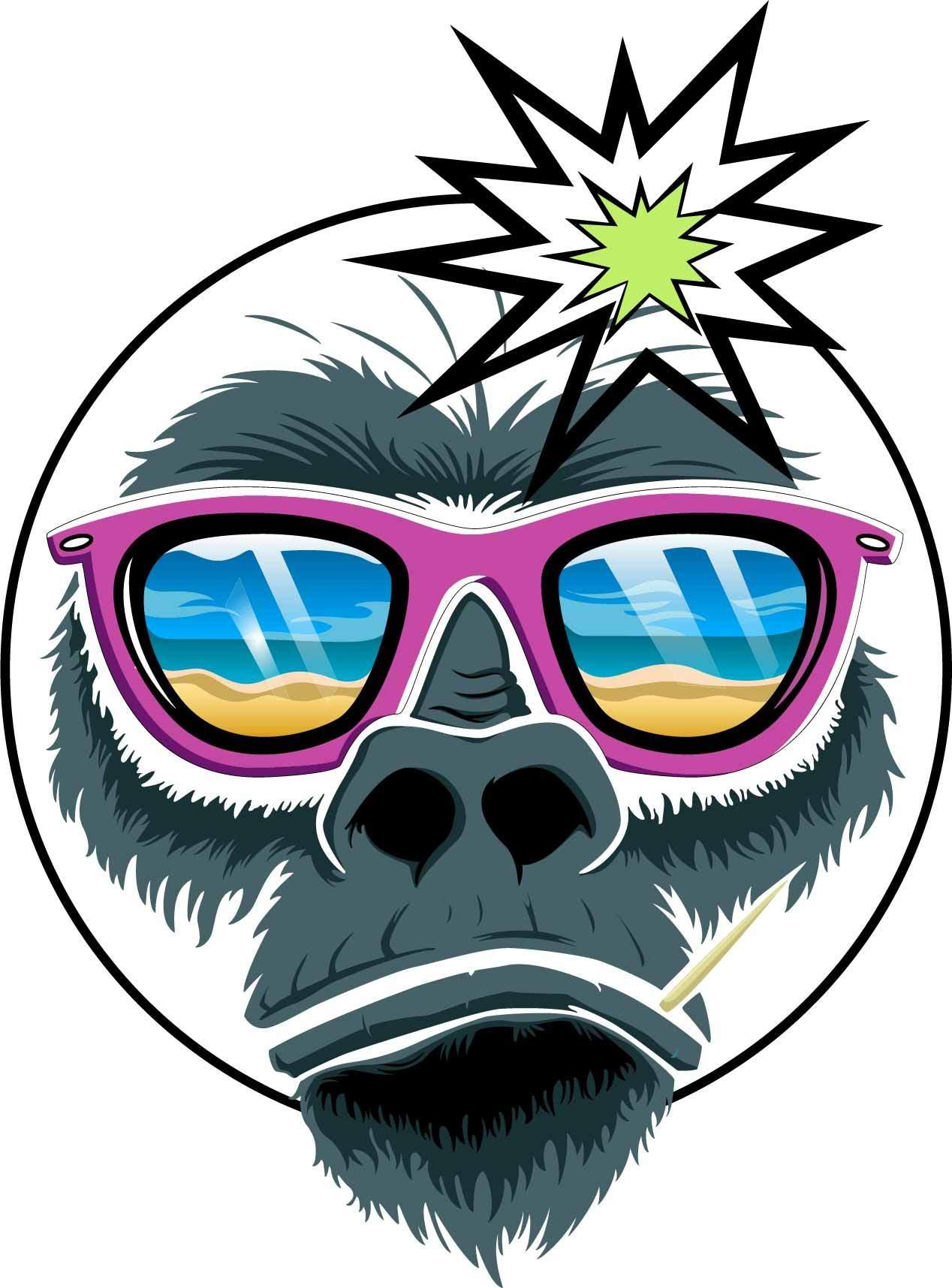 动物大猩猩头像印花矢量图服装裁片T恤烫图印花花型素材-POP花型网