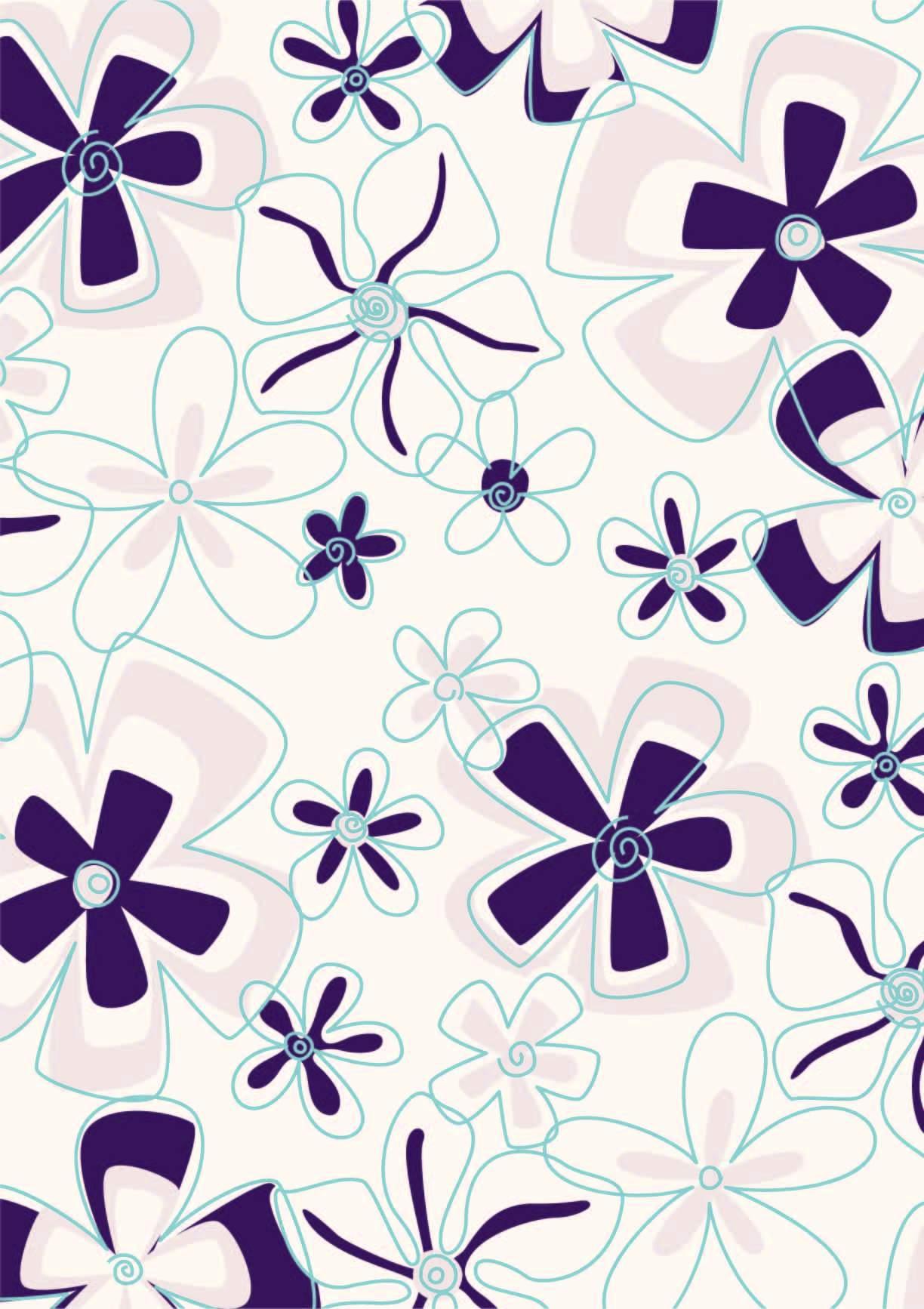 几何植物花纹印花矢量图服装纺织面料数码印花花型素材-POP花型网