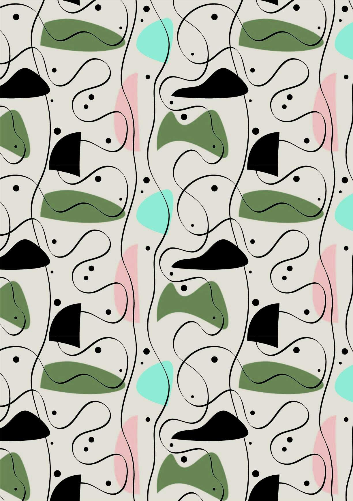几何条纹印花矢量图服装纺织面料数码印花花型素材-POP花型网
