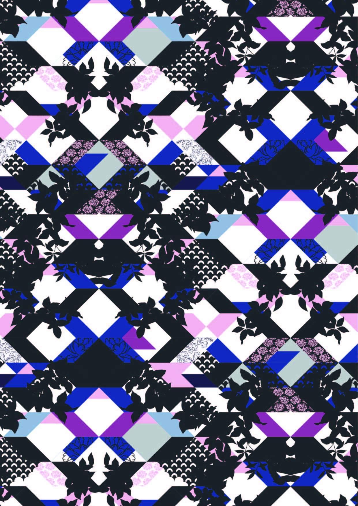 几何马赛克图案印花矢量图服装纺织面料数码印花花型素材-POP花型网