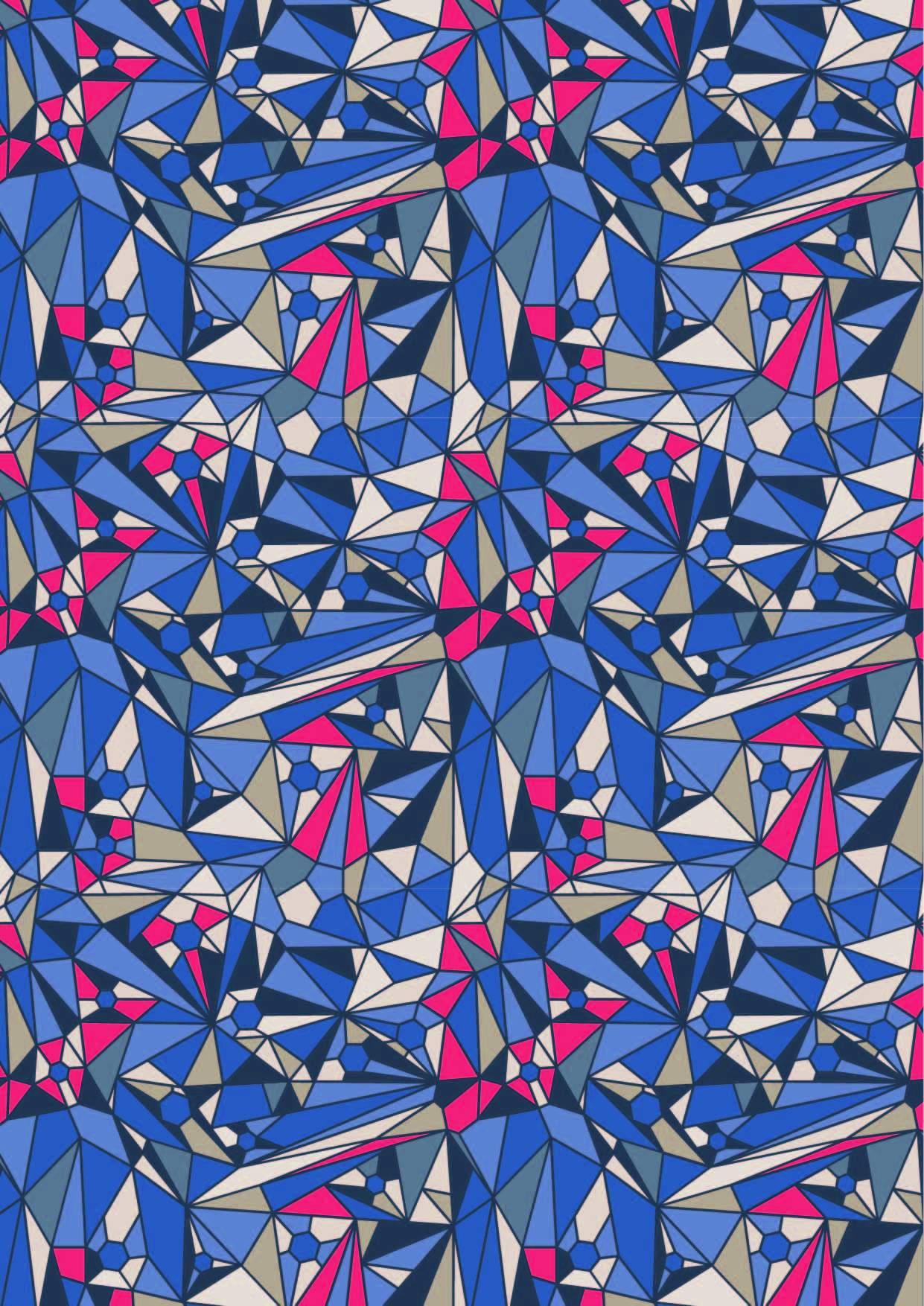 几何三角图案拼接印花矢量图服装纺织面料数码印花花型素材-POP花型网