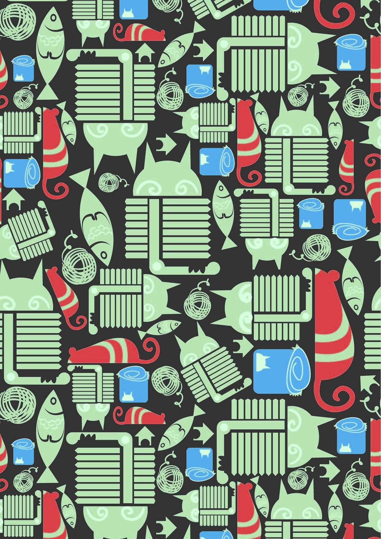 几何图案动物老鼠猫咪印花矢量图服装纺织面料数码印花花型素材-POP花型网
