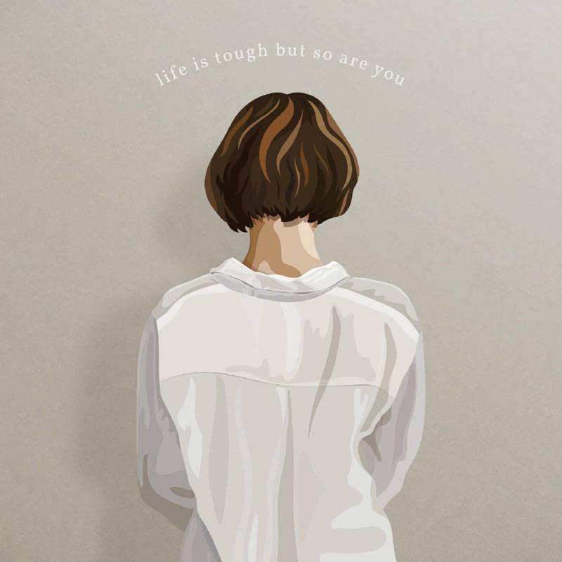 女孩背影字母印花矢量图服装裁片T恤烫图印花花型素材-POP花型网
