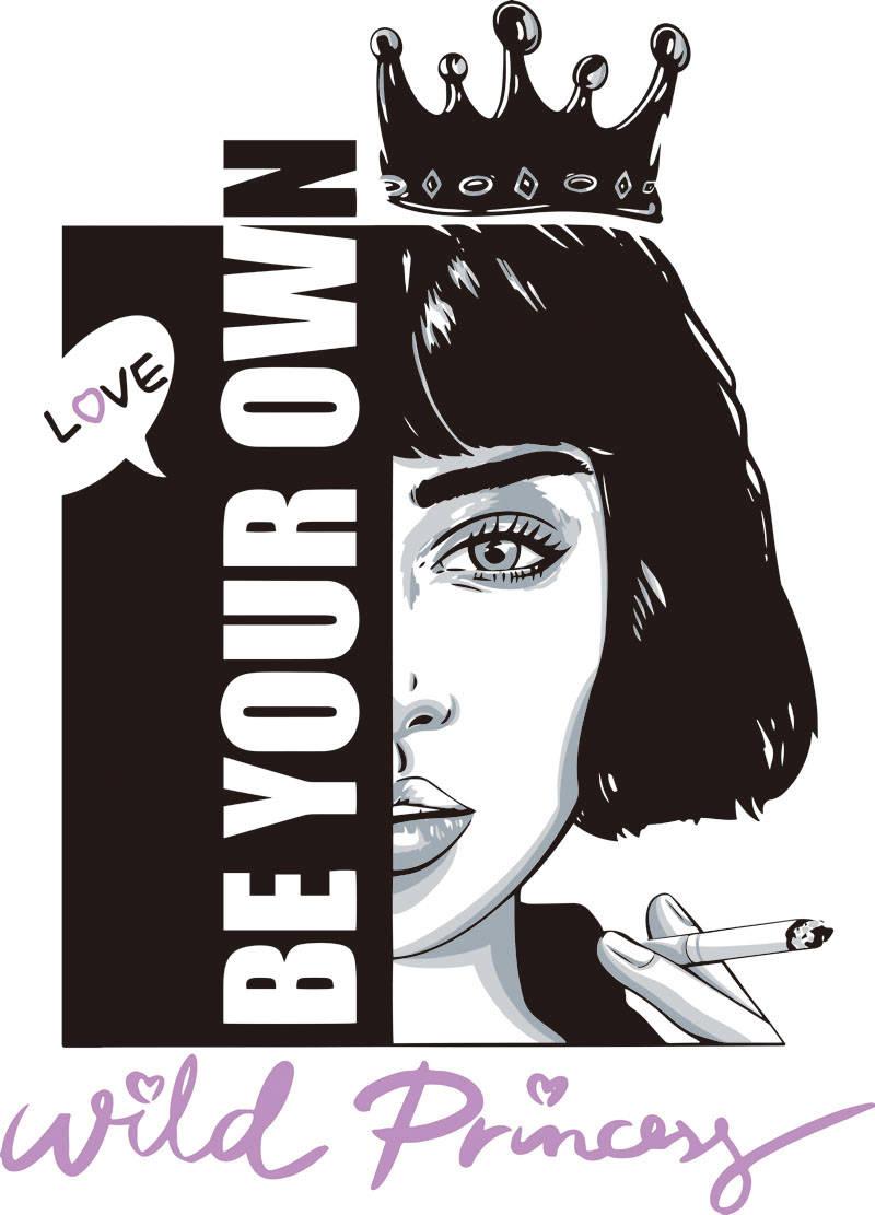 字母抽烟的女孩皇冠印花矢量图服装裁片T恤烫图印花花型素材-POP花型网