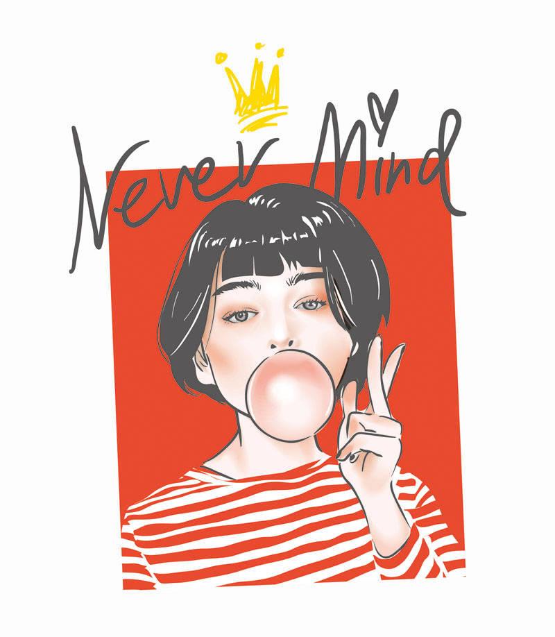女孩字母拼接印花矢量图服装裁片T恤烫图印花花型素材-POP花型网