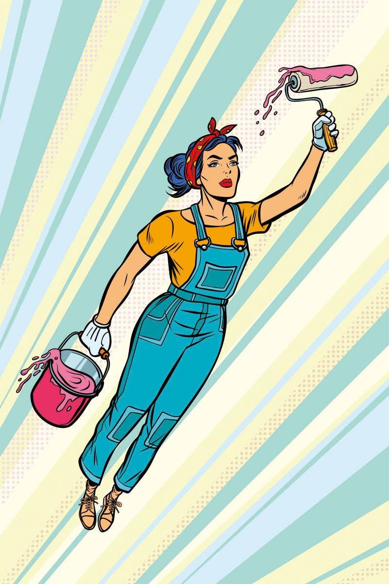 飞行的女孩油漆工印花矢量图服装裁片T恤烫图印花花型素材-POP花型网