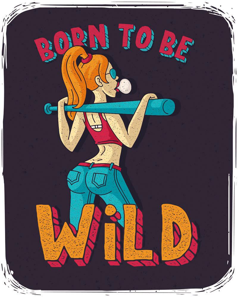 卡通人物女孩字母印花矢量图服装裁片T恤烫图印花花型素材-POP花型网