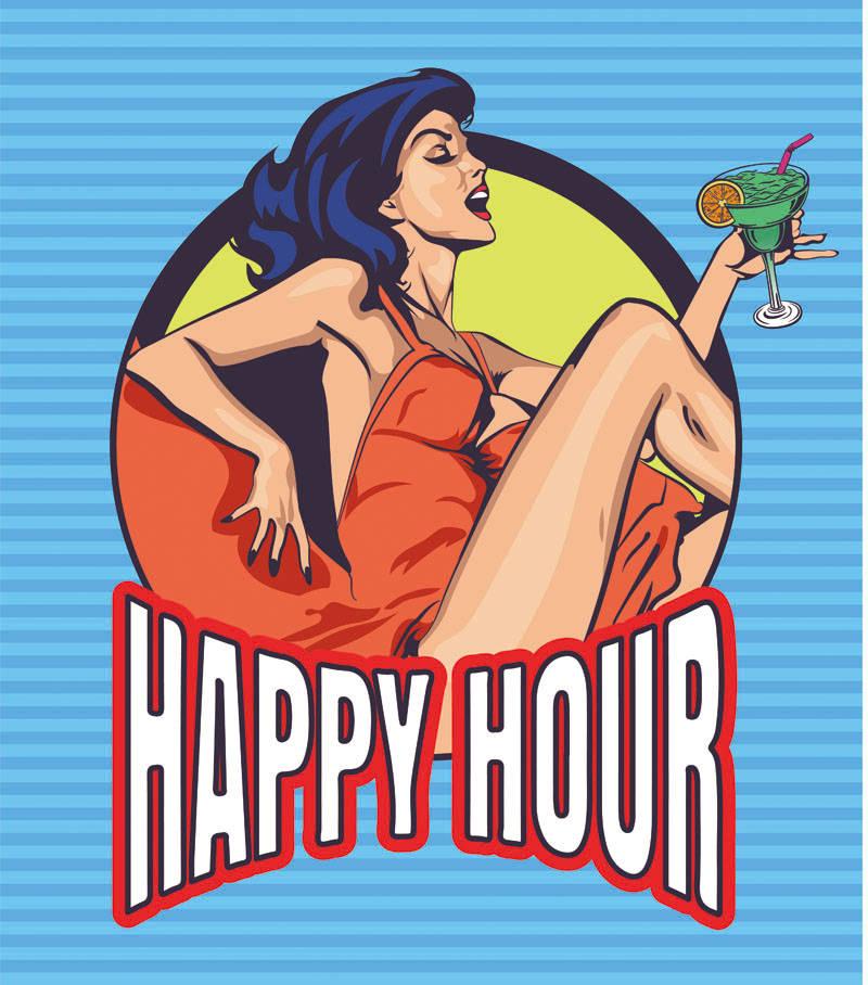 卡通人物女孩字母鸡尾酒印花矢量图服装裁片T恤烫图印花花型素材-POP花型网