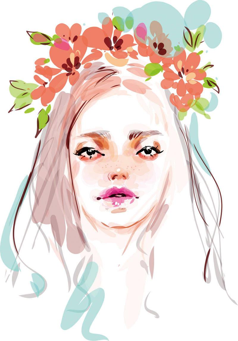 女士人物花卉背景印花矢量图服装裁片T恤烫图印花花型素材-POP花型网