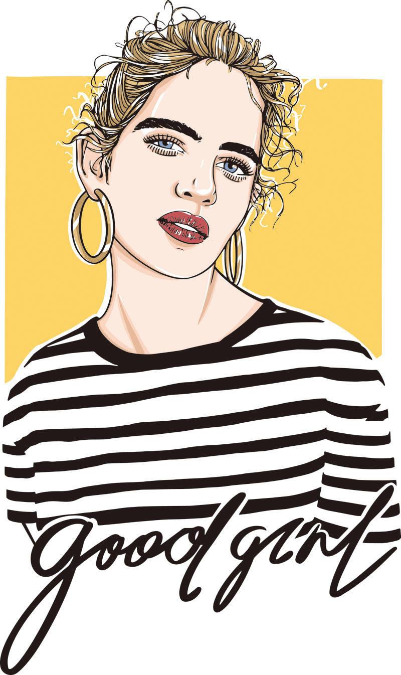 女孩字母印花矢量图服装裁片T恤烫图印花花型素材-POP花型网