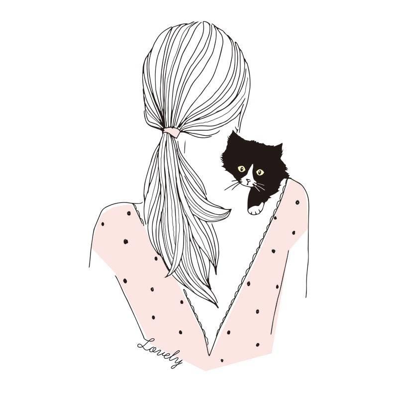 女孩背景猫咪印花矢量图服装裁片T恤烫图印花花型素材-POP花型网