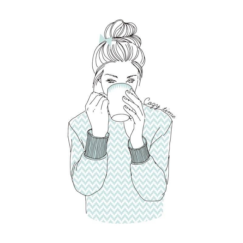 喝水的女孩字母印花矢量图服装裁片T恤烫图印花花型素材-POP花型网