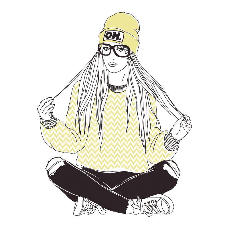 长发女孩印花矢量图服装裁片T恤烫图印花花型素材-POP花型网