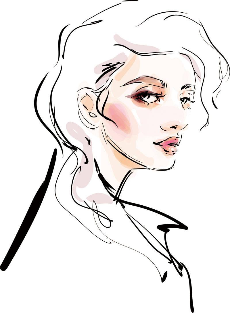 女士人物背景印花矢量图服装裁片T恤烫图印花花型素材-POP花型网