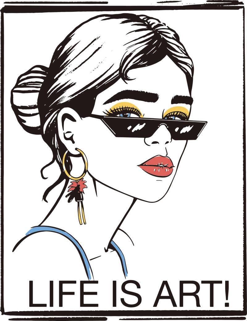 墨镜女孩字母印花矢量图服装裁片T恤烫图印花花型素材-POP花型网