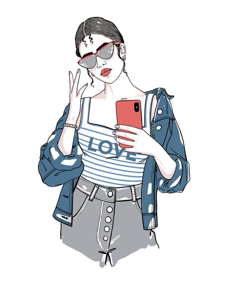 自拍的女孩图案印花矢量图服装裁片T恤烫图印花花型素材-POP花型网