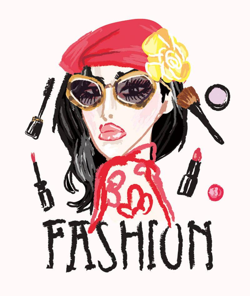 女士人物化妆品字母印花矢量图服装裁片T恤烫图印花花型素材-POP花型网
