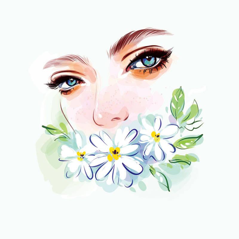 女孩图案植物邹菊印花矢量图服装裁片T恤烫图印花花型素材-POP花型网