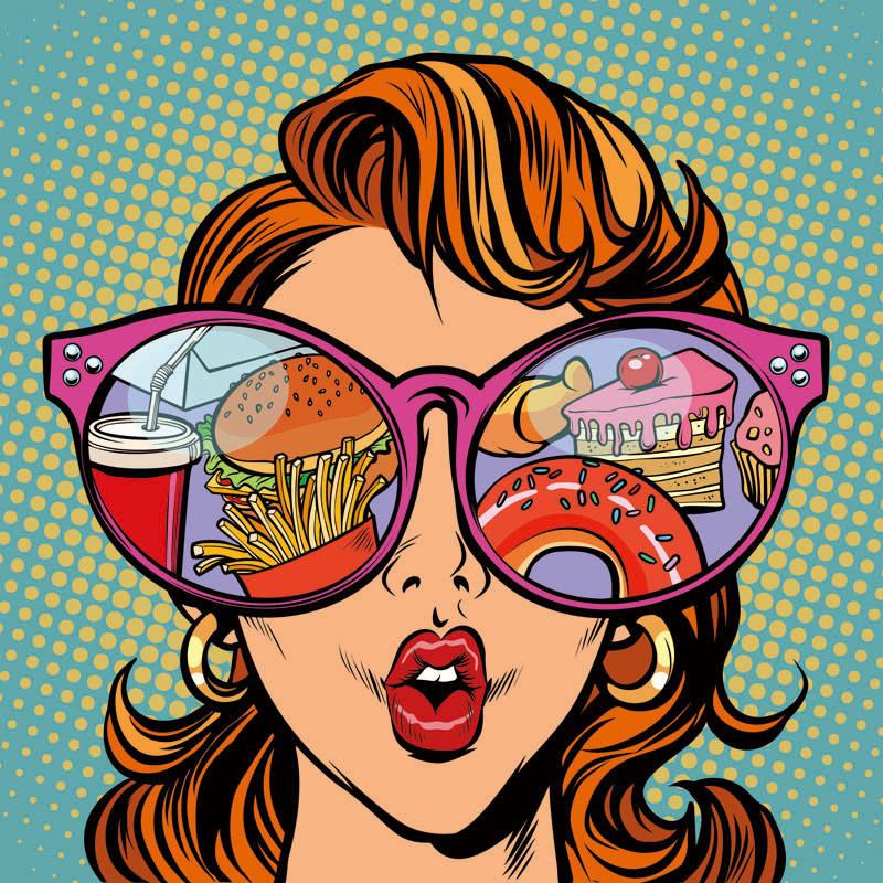 卡通女孩失误汉堡薯条甜甜圈印花矢量图服装裁片T恤烫图印花花型苏次-POP花型网