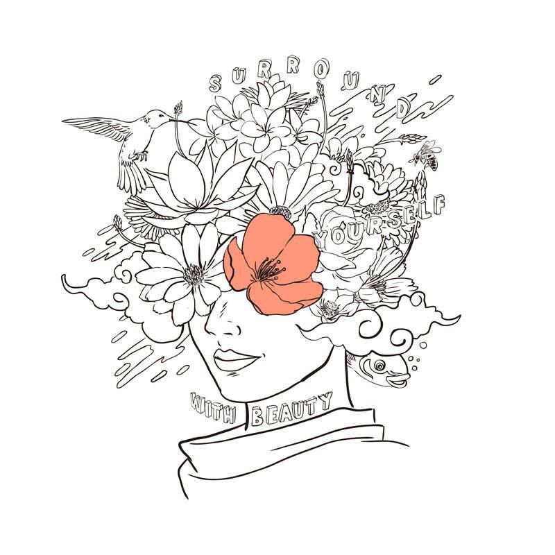 几何人物花卉蜂鸟字母印花矢量图服装裁片T恤烫图印花花型素材-POP花型网